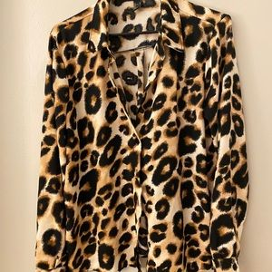 Forever 21 cheetah button up shirt